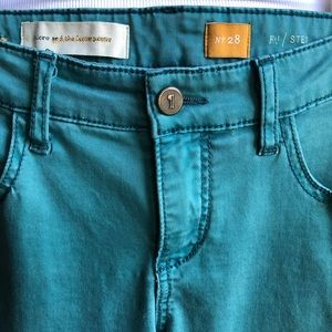 Pilcro Stet Stretch Skinny Teal Green Pants Jeans